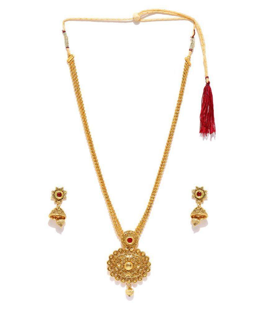 Zaveri Pearls Kundan Studded Golden Necklace Set