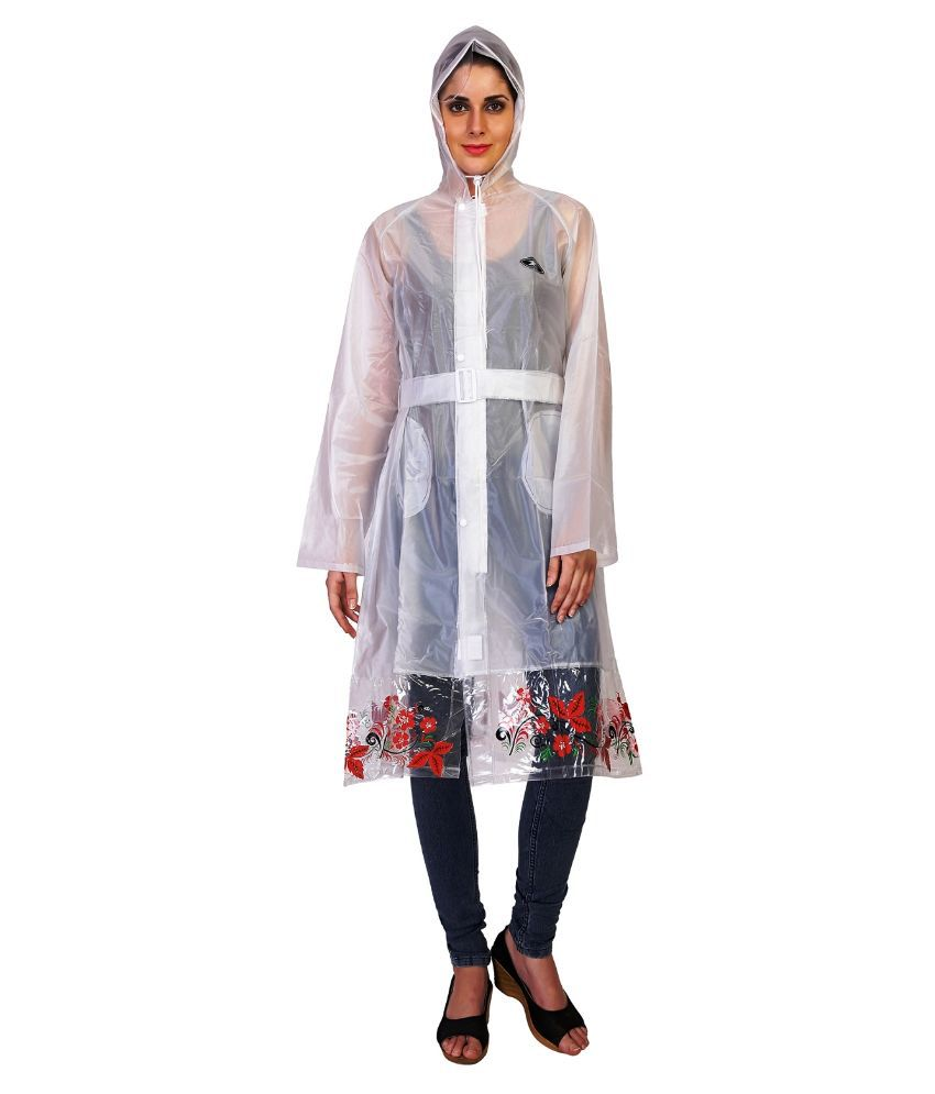 Zeel White Solid And Printed Raincoat  For Women