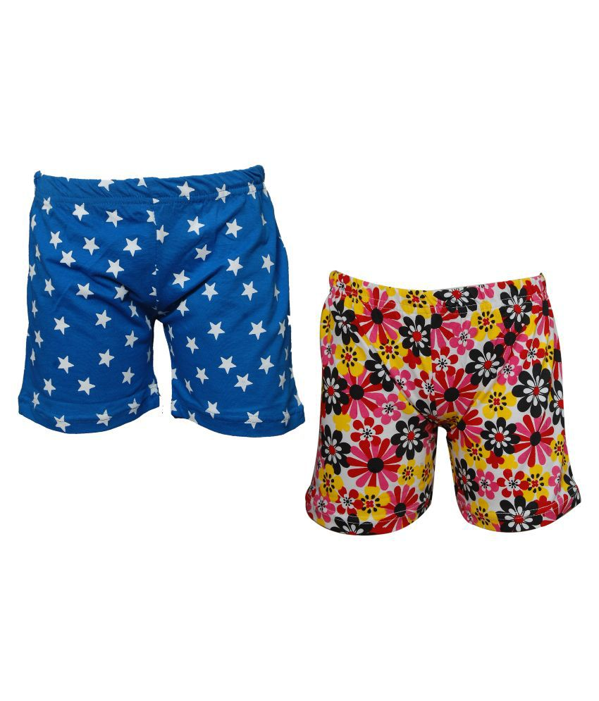 Little Stars Multicolor Cotton Shorts - Pack of 2