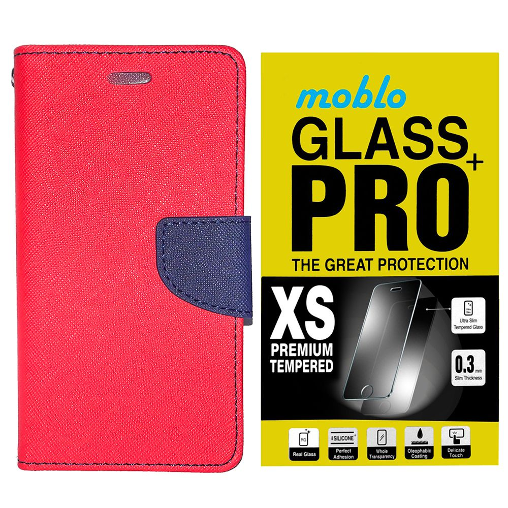 Moblo Flip cover(Red) with Tempered Glass For Samsung Galaxy Tab 2 7.0 P3100
