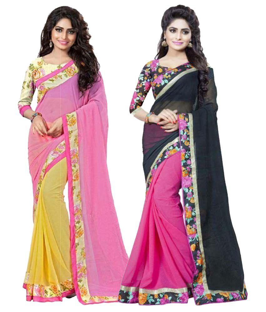 Sai Silk Mills Multicoloured Georgette Saree Combos