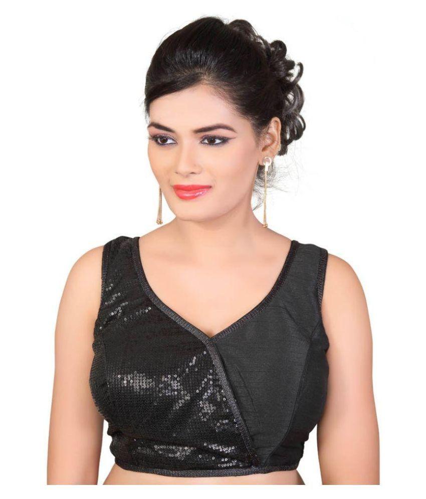 Atulya Designer Blouse Black Polysatin Blouses