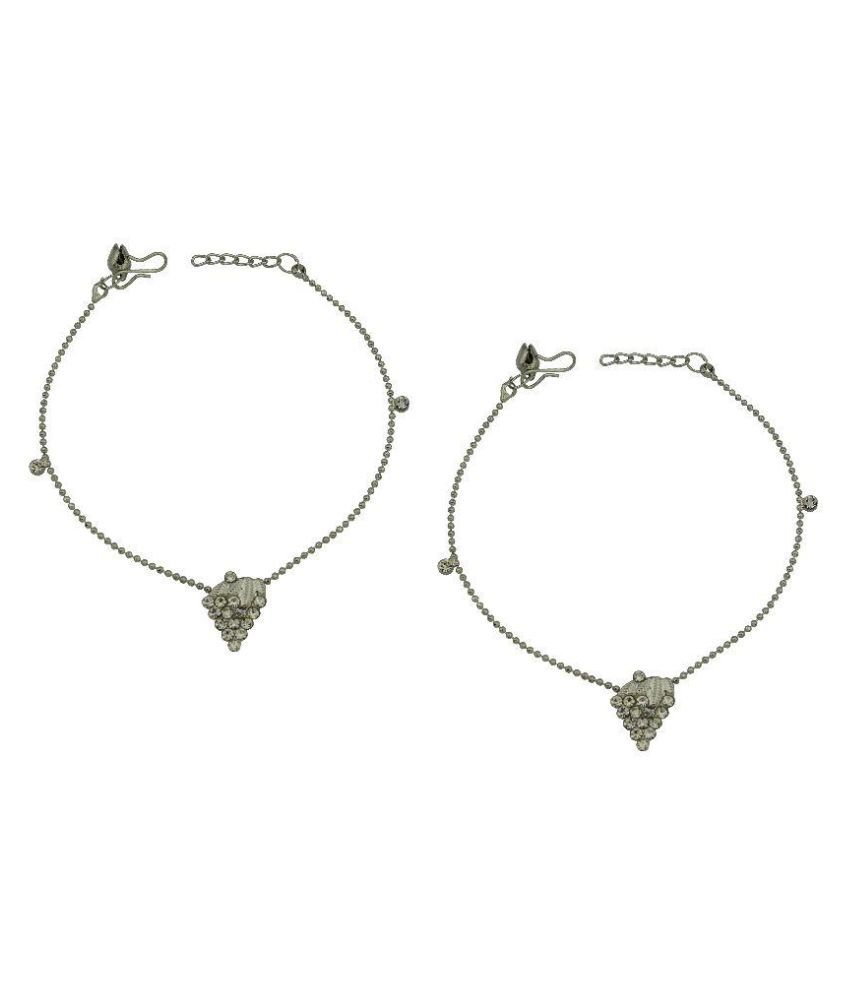 High Trendz Silver Pair of Anklets