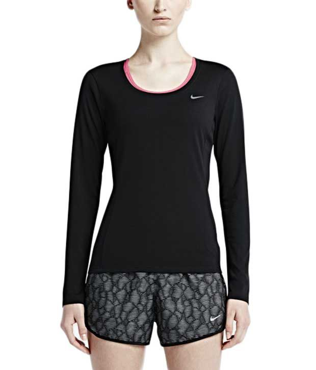 ce87024b Buy Nike Black Dri-Fit Contour Long Sleeve for Women Online at Best Prices  in India - Snapdeal
