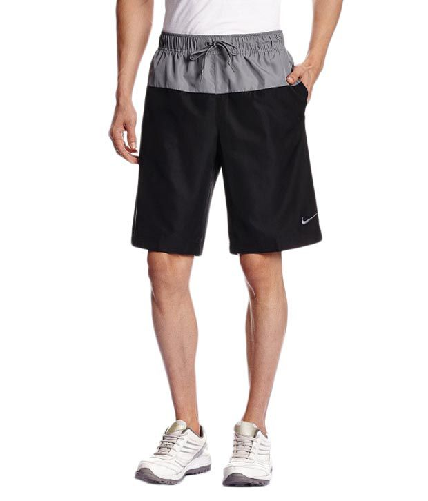 Nike Black and Grey Polyester Shorts for Men