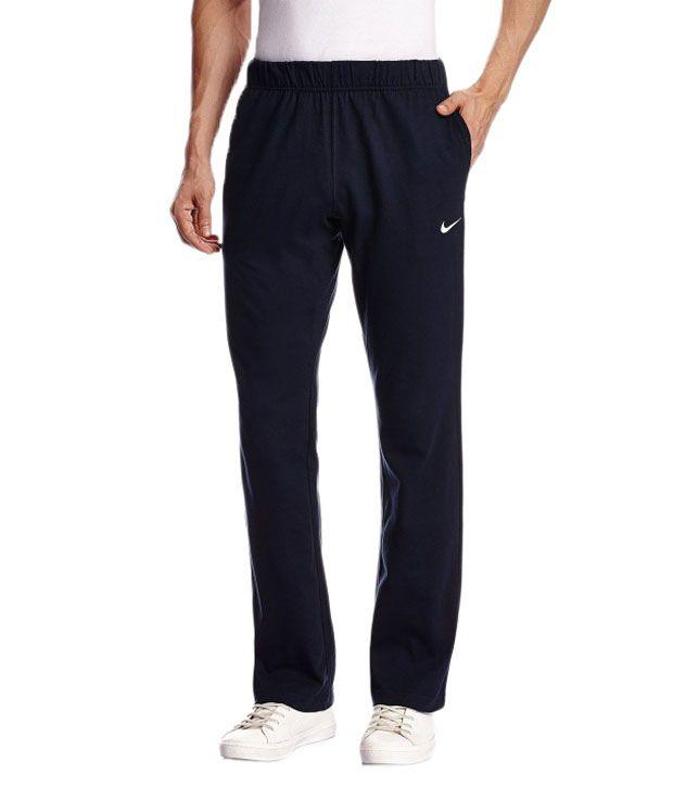 Nike Navy Cotton Track Pants for Men
