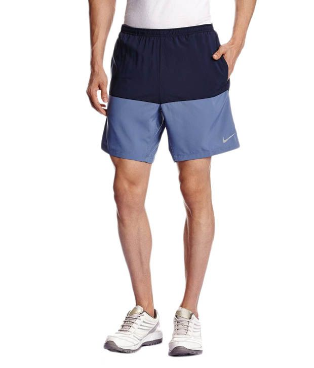 Nike Navy and Blue Polyester Shorts for Men