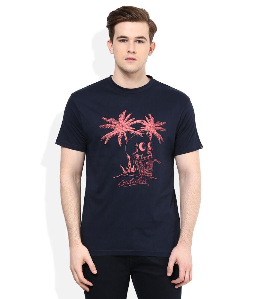 Quiksilver Navy Blue Printed Regular Fit T-Shirt