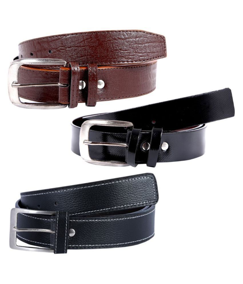 Kritika World Multicolour Casual Belt for Men - Pack of 3