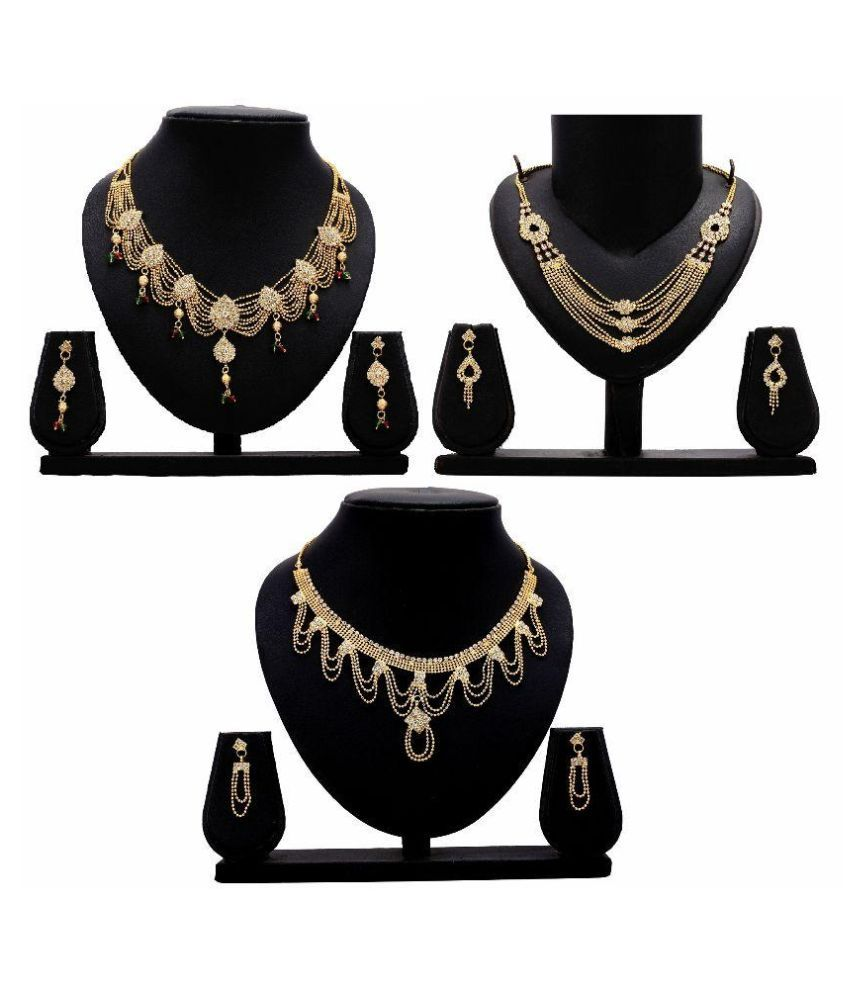 Stutti Fashion Golden Alloy Necklace Set - Pack of 3