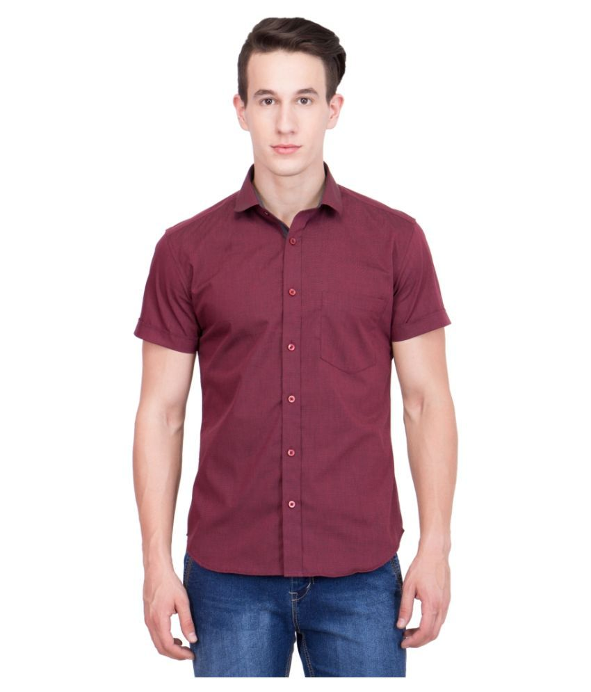 99Hunts Maroon Casuals Regular Fit Shirt