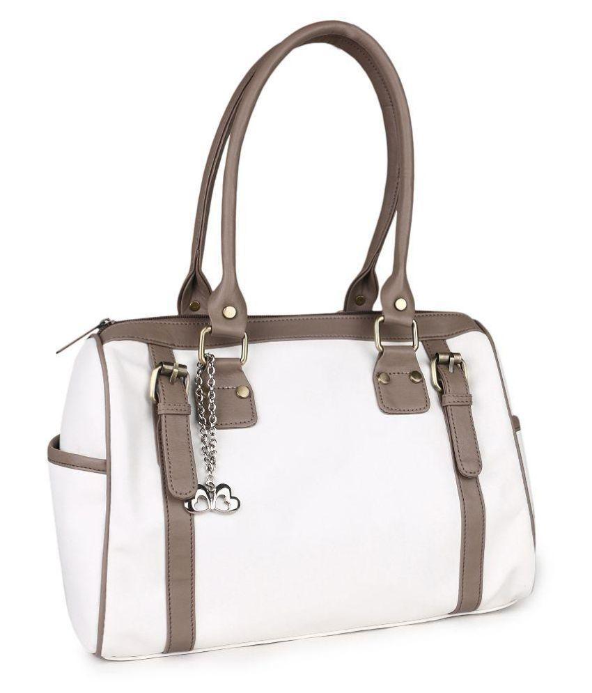Goldmine White Fabric Shoulder Bag