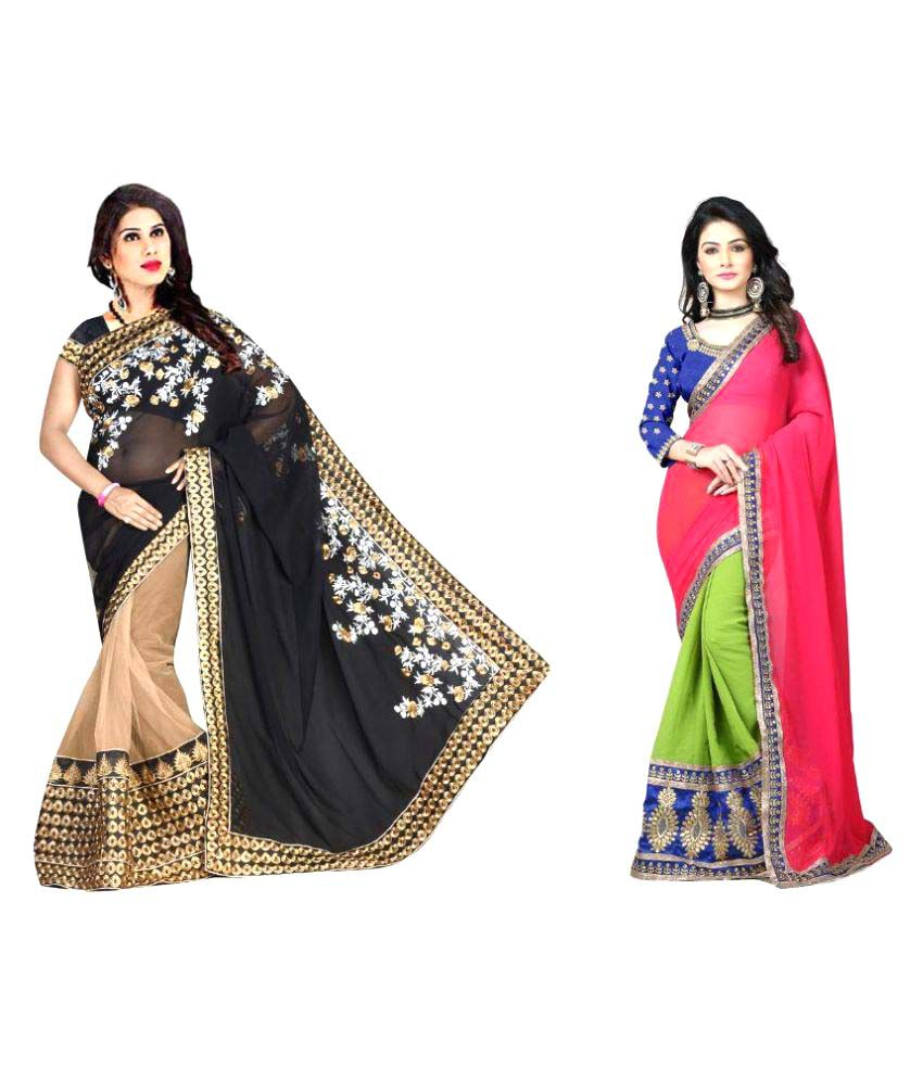 Shelton Enterprise Multicoloured Chiffon Saree Combos