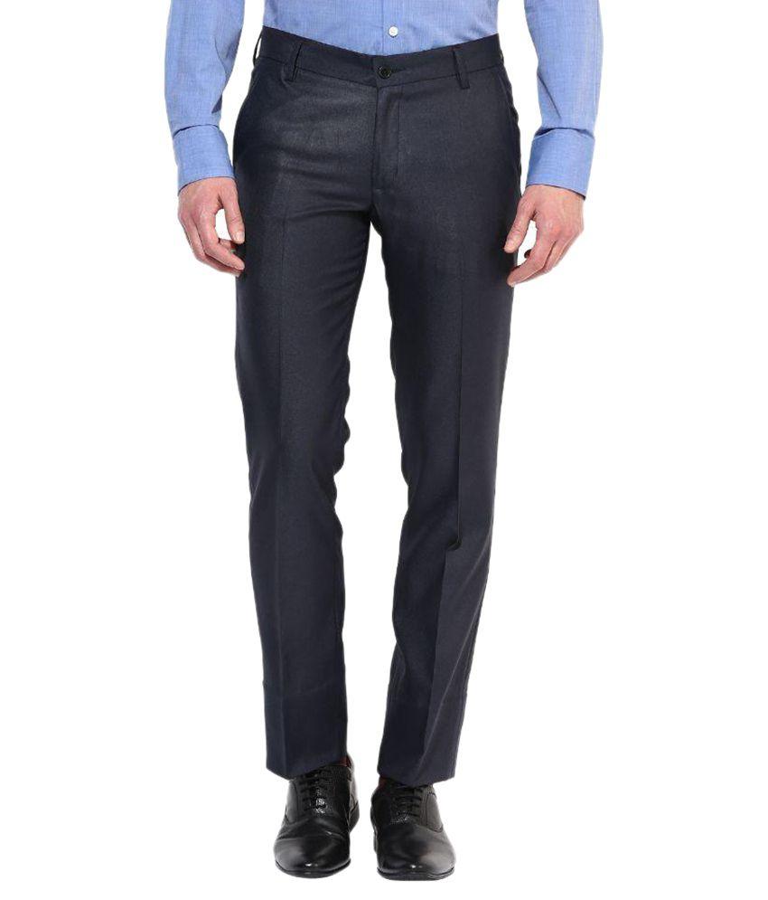 Bukkl Black Regular Fit Flat Trousers