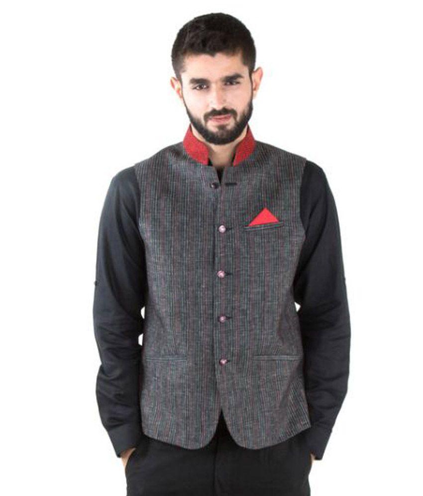 Jahanpanah Grey Festive Waistcoats