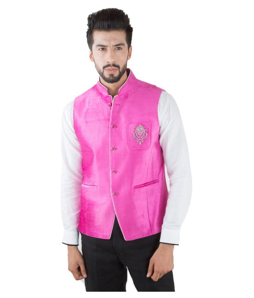 Jahanpanah Pink Wedding Waistcoats