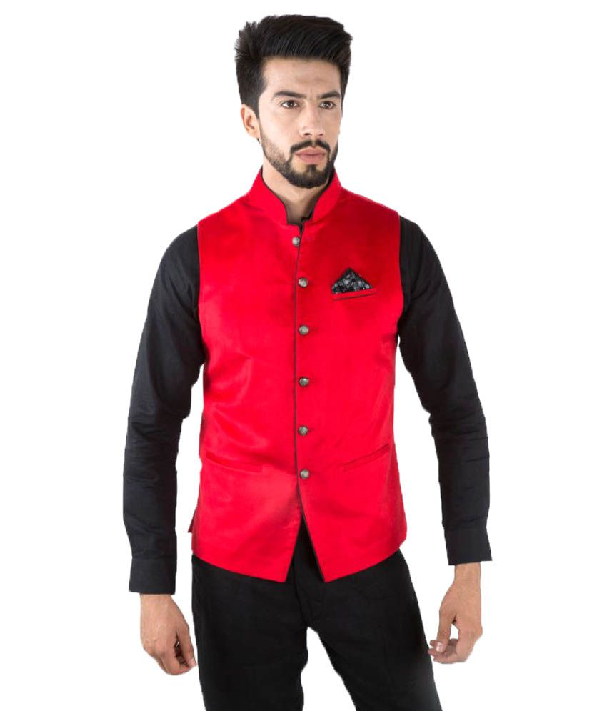 Jahanpanah Red Party Waistcoats