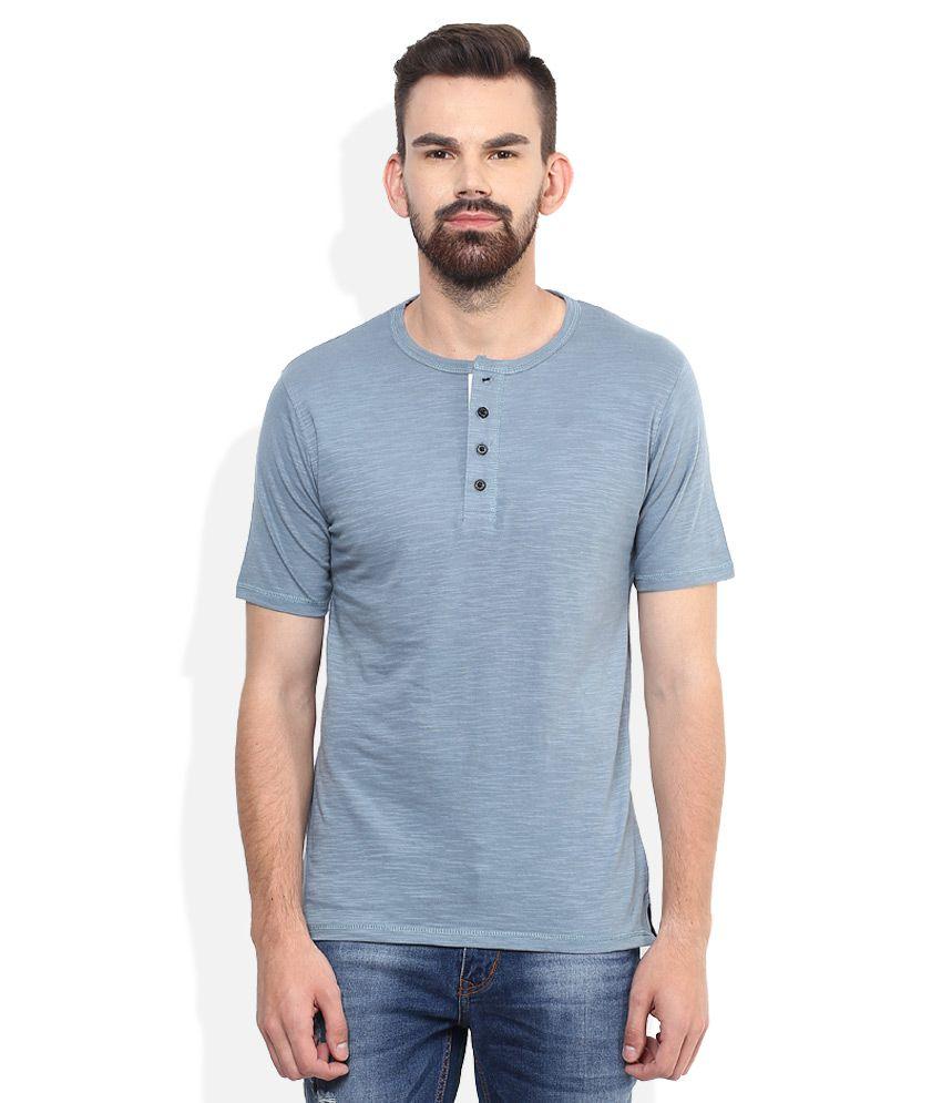 Lee Cooper Blue Solid Regular Fit Henley T-Shirt