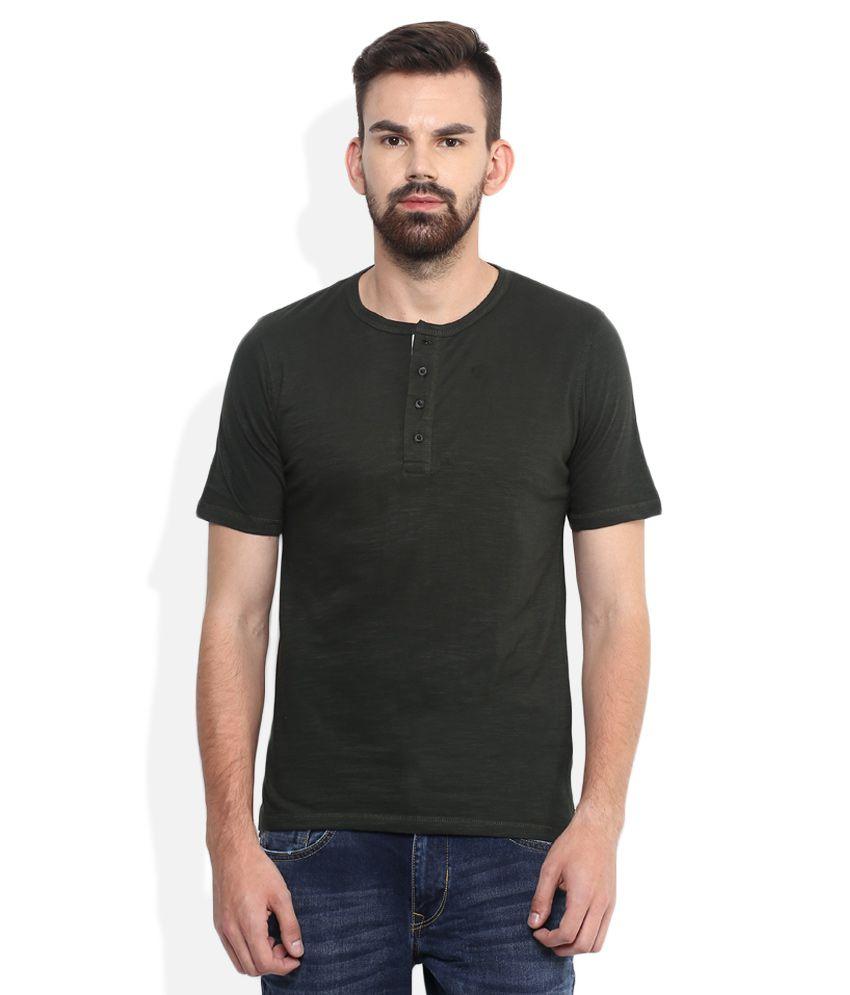 Lee Cooper Green Solid Regular Fit Henley T-Shirt