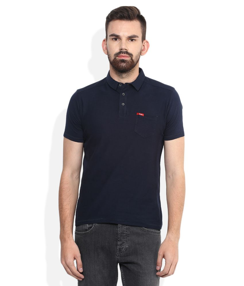 12e8c227 Lee Cooper Navy Blue Solid Regular Fit Polo T-Shirt - Buy Lee Cooper Navy  Blue Solid Regular Fit Polo T-Shirt Online at Low Price - Snapdeal.com