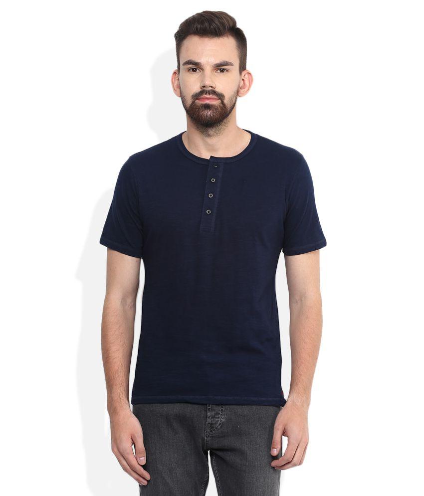 Lee Cooper Navy Blue Solid Regular Fit Henley T-Shirt
