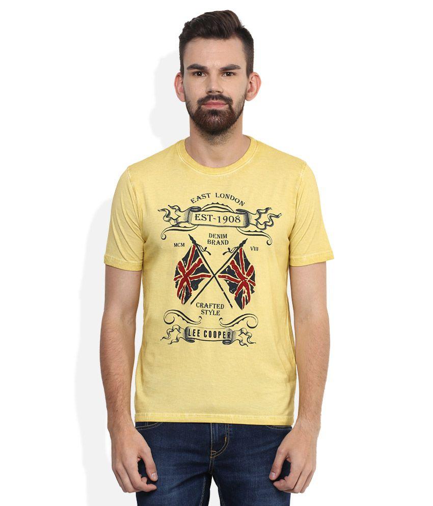 Lee Cooper Yellow Printed Regular Fit T-Shirt