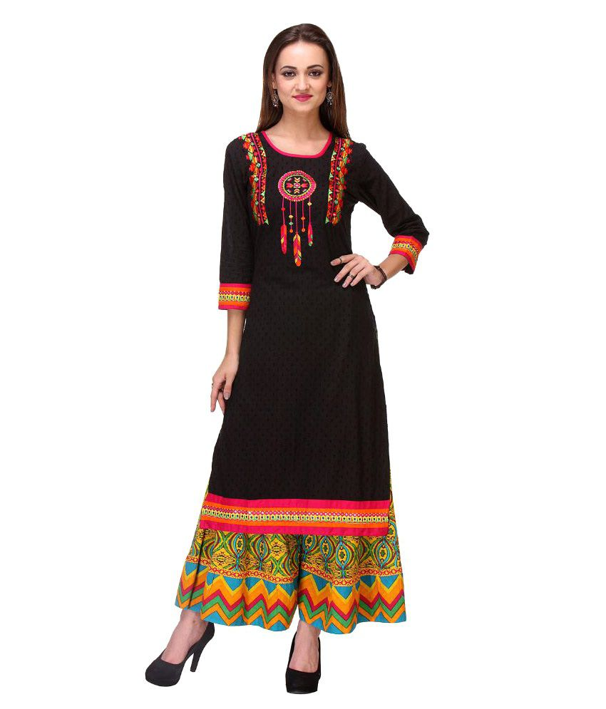 Riti Riwaz Black Cotton Kurti with Palazzo