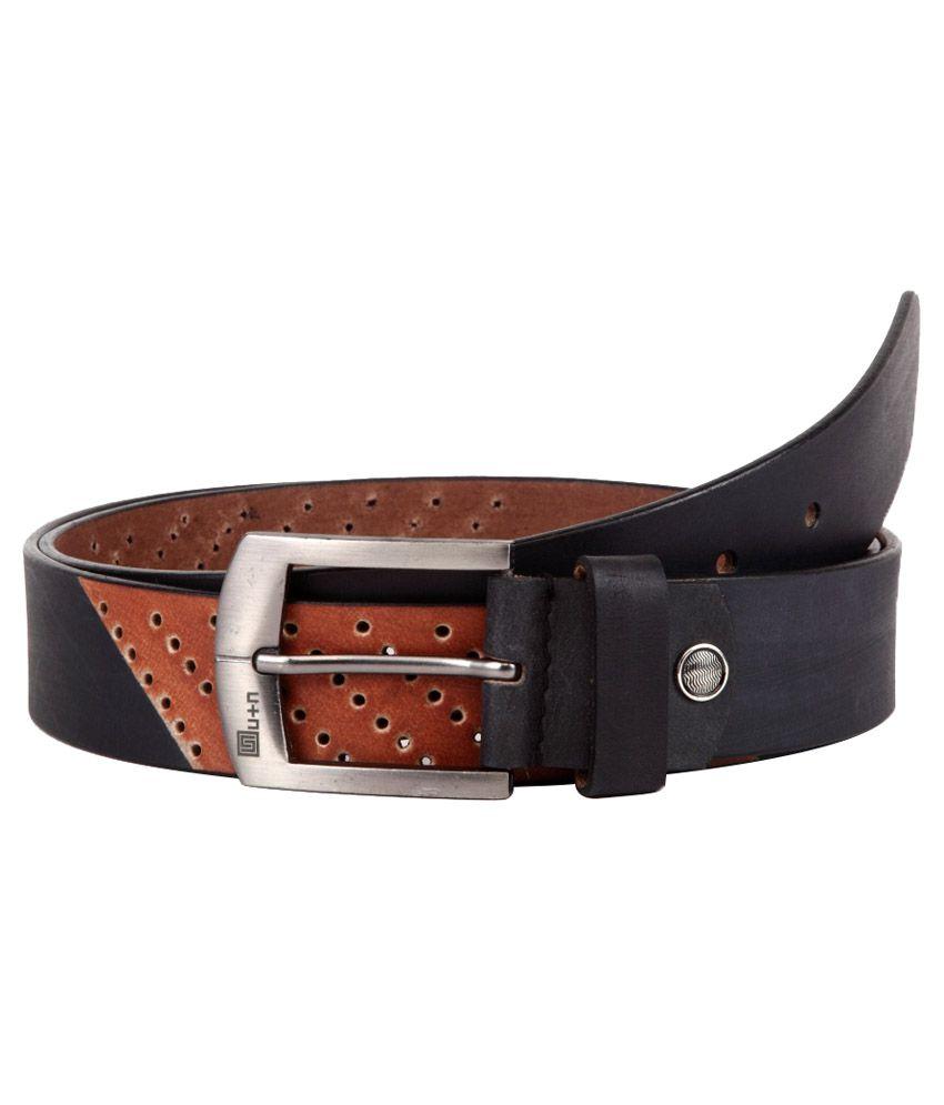 U+N Black Leather Belt