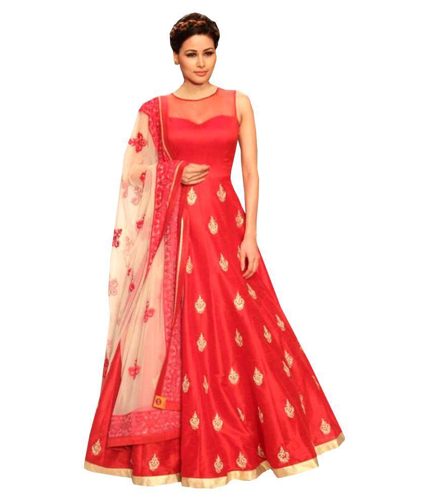 36c104f7321349 Greenvilla Designs Red Silk Anarkali Semi-Stitched Suit - Buy Greenvilla  Designs Red Silk Anarkali Semi-Stitched Suit Online at Best Prices in India  on ...