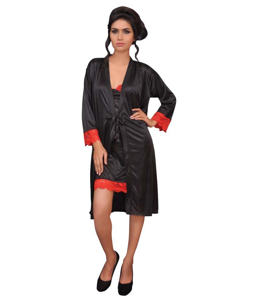 bcae321e56 Buy Melisa Black Poly Satin Nightsuit Sets Online at Best Prices in India -  Snapdeal