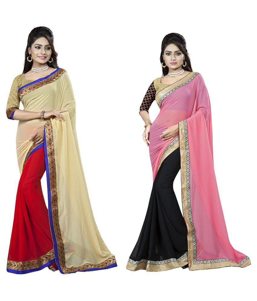 Ayodhya Saree Multicoloured Georgette Saree Combos