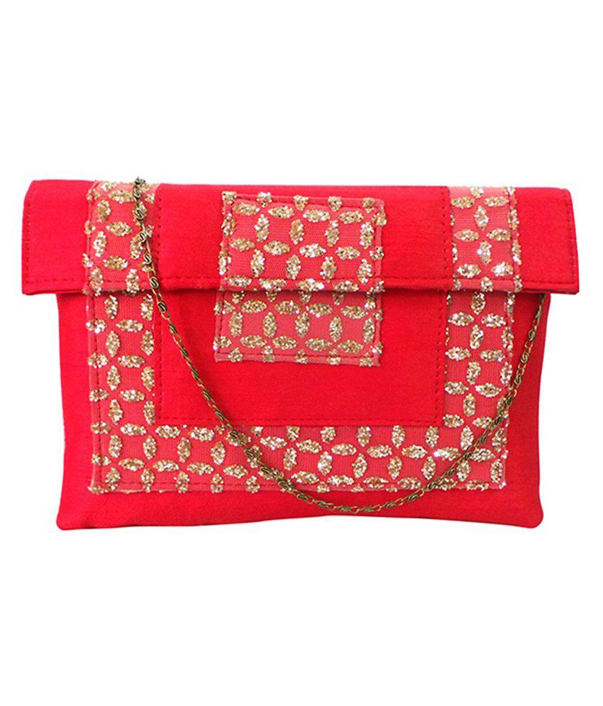 Bhamini Red Silk Clutch