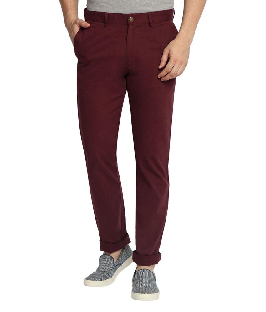 SUITLTD Maroon Slim Fit Twill Chino Pants