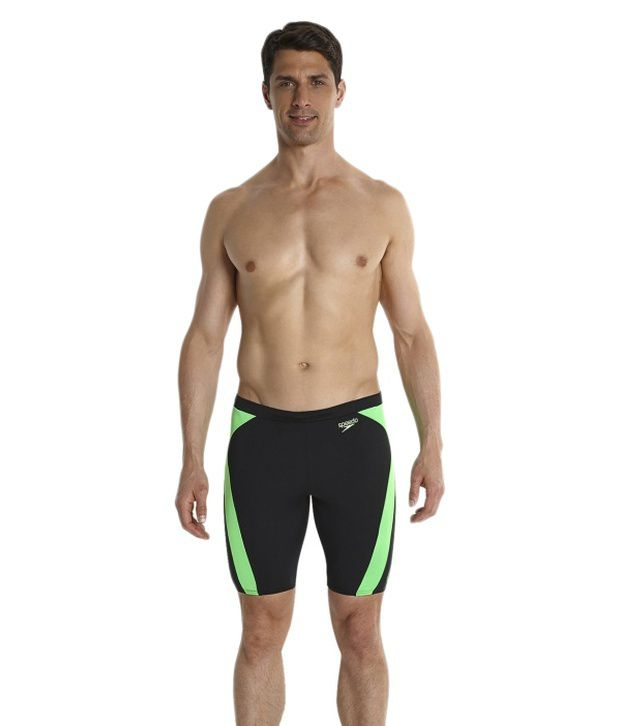 Speedo Black Logo Graphic Splice Jammer Men Swimwear