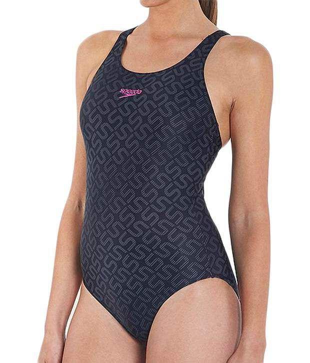 Speedo Black Monogram Allover Pullback Swimsuit/ Swimming Costume