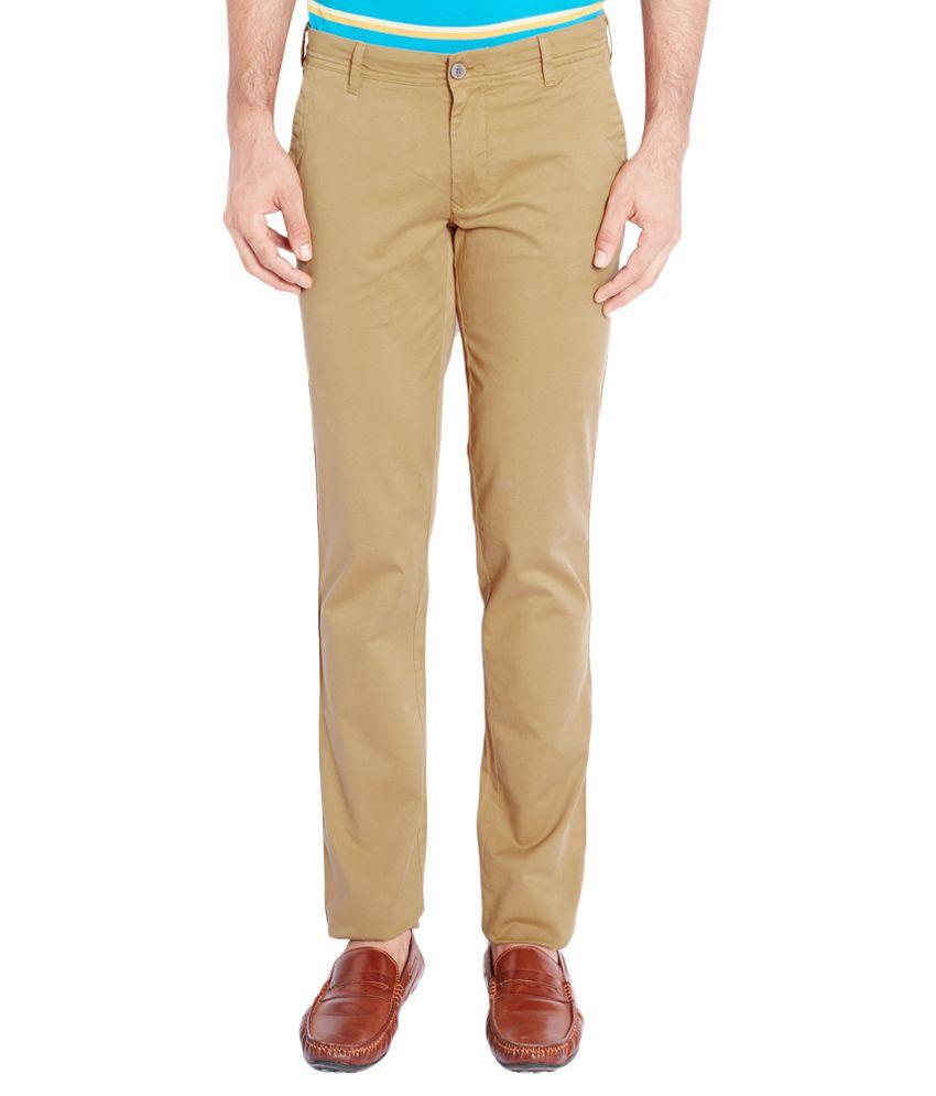 ColorPlus Khaki Regular Fit Flat Trousers