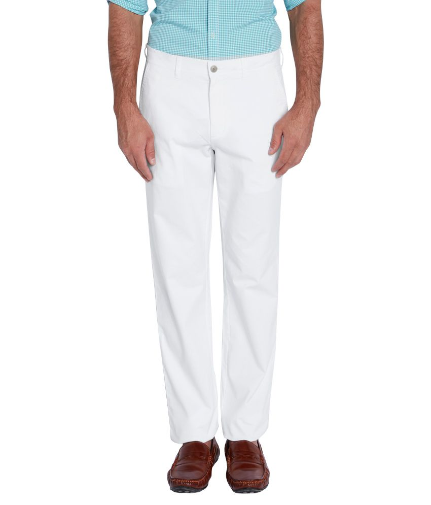 Colorplus White Slim Fit Flat Trousers