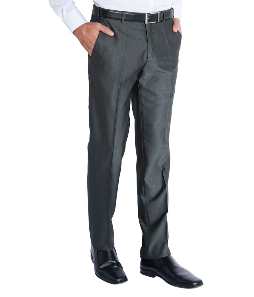 Park Avenue Grey Slim Fit Flat Trousers