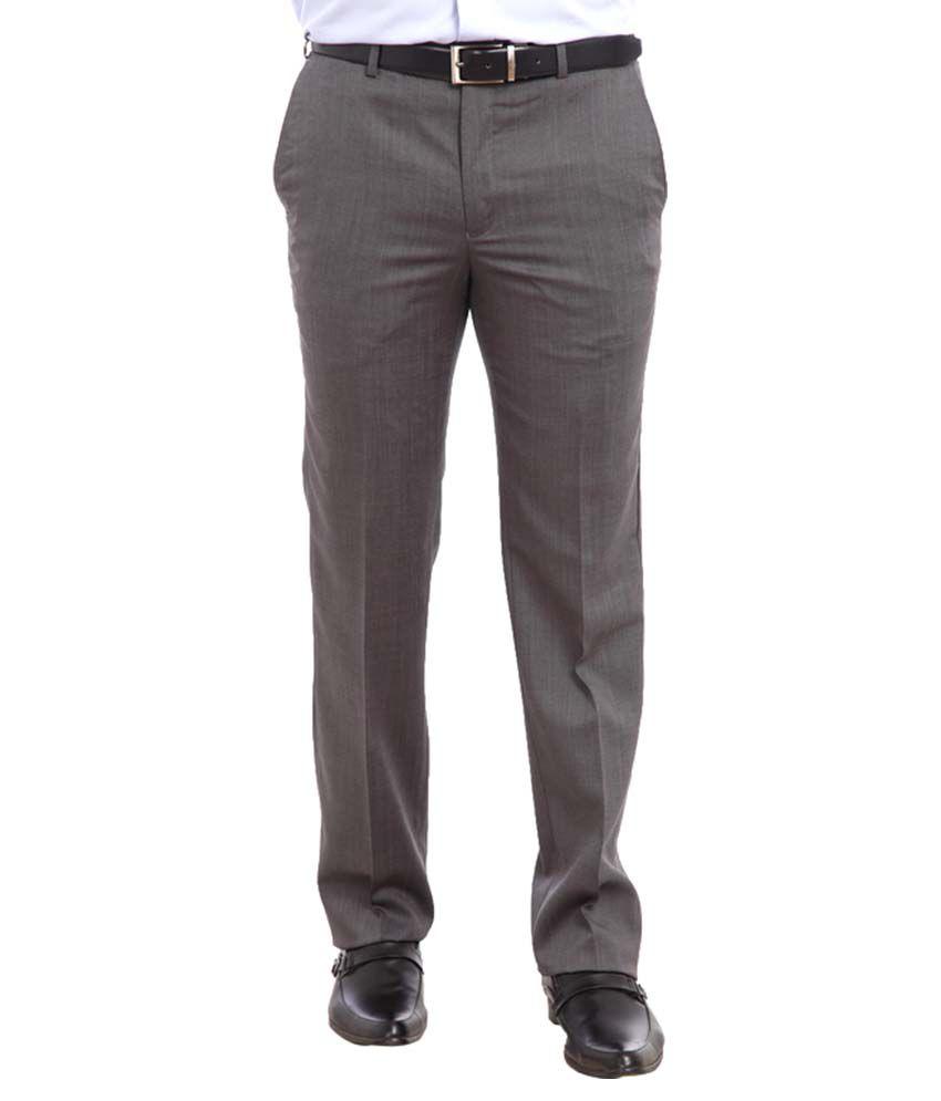 Raymond Grey Regular Fit Flat Trousers