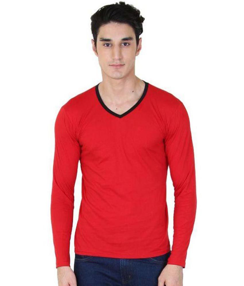 BI Fashion Red V-Neck T Shirt