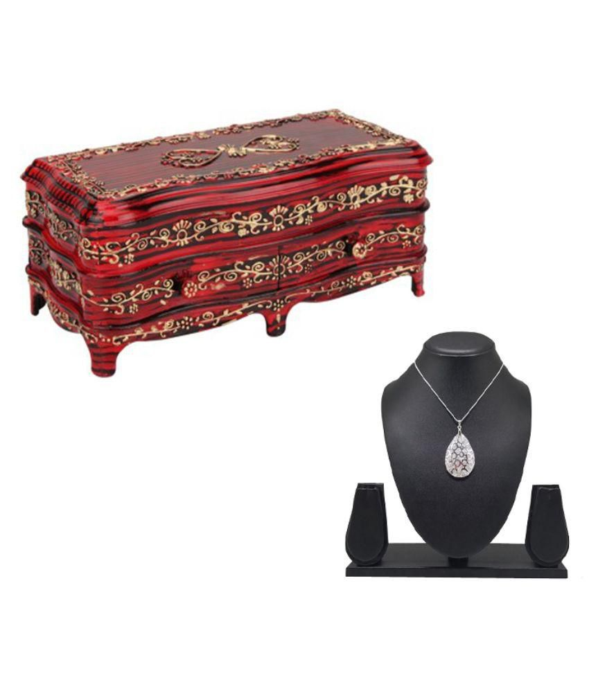 Tuelip Antique RoseWood Classic-2 Jewellery & MakeUp Vanity Jewellery Box With Free Pendant With Chain