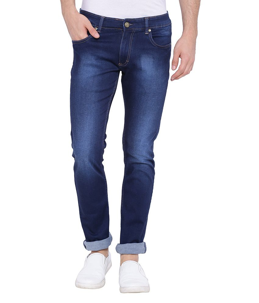 Skie Studio Navy Slim Fit Faded Jeans