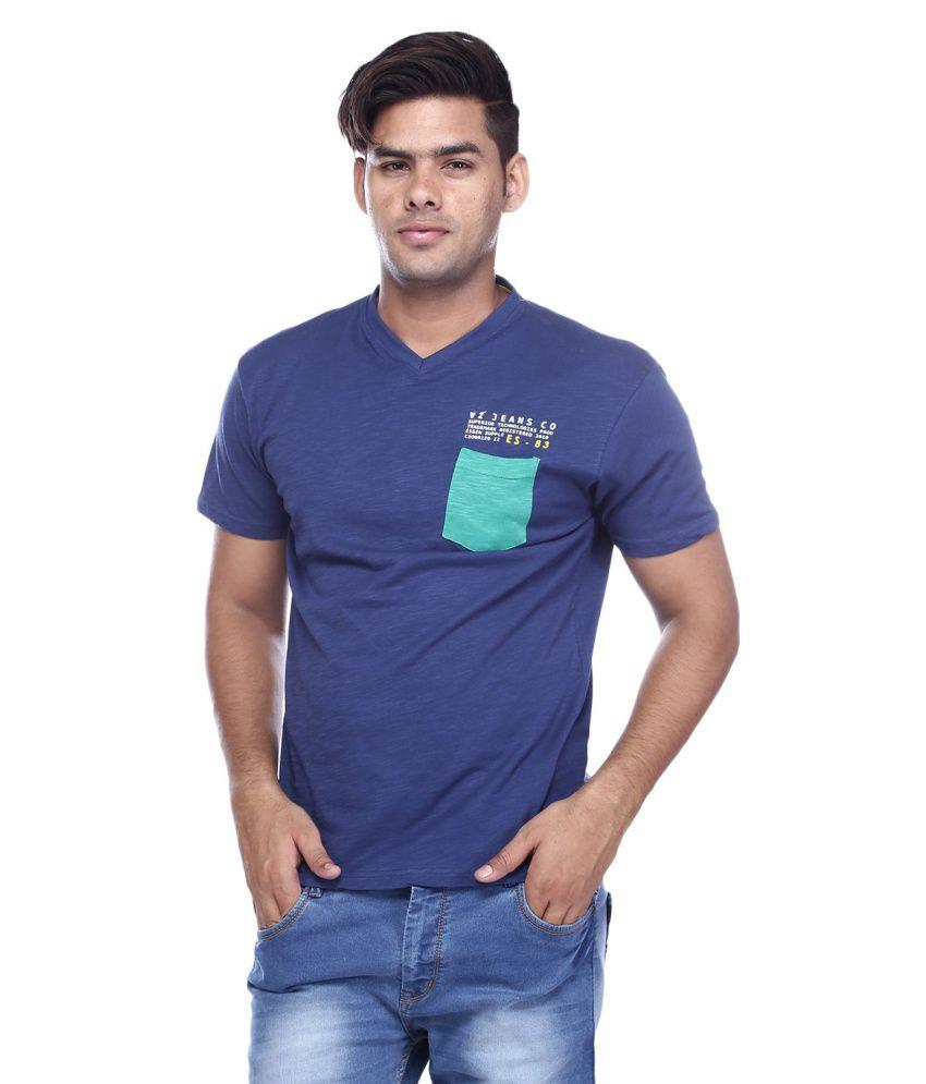 Viveza Blue V-Neck T Shirt