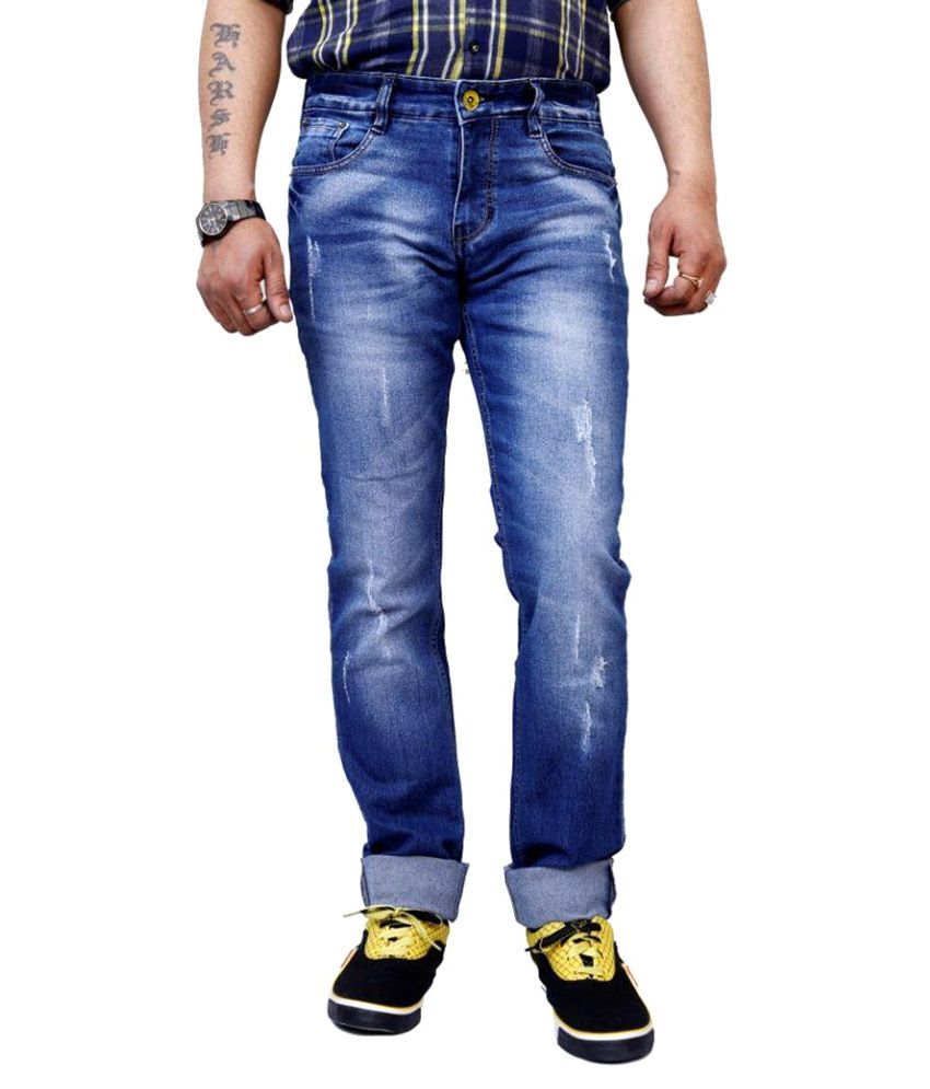 SuperX Blue Slim Fit Distressed Jeans