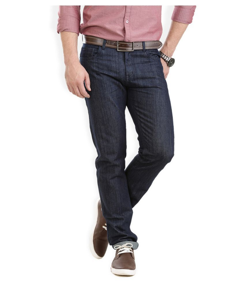 VUDU Navy Slim Fit Solid Jeans