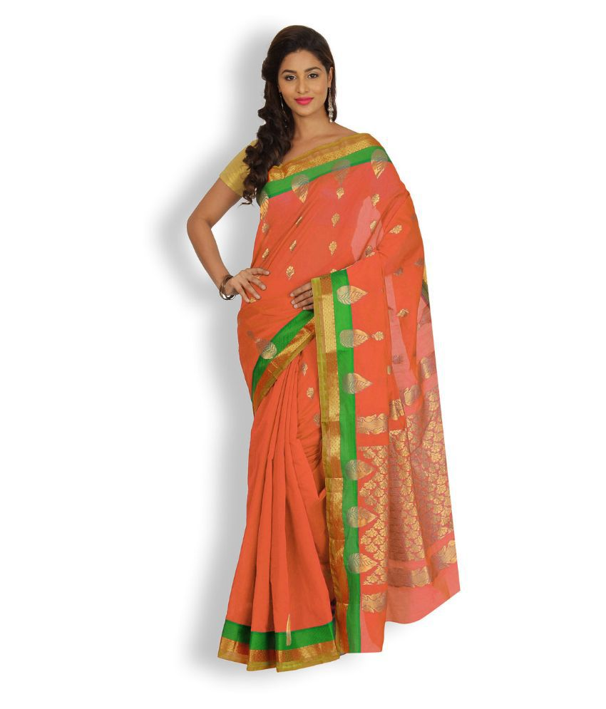 Pratamika Orange Chanderi Saree