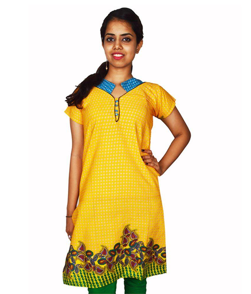 Insta Style Yellow Cotton Straight Kurti