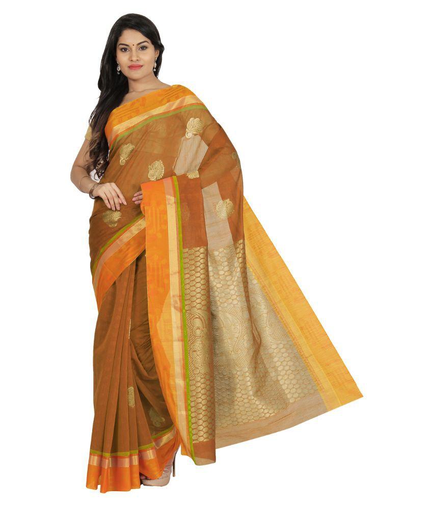 Pratamika Brown Cotton Silk Saree