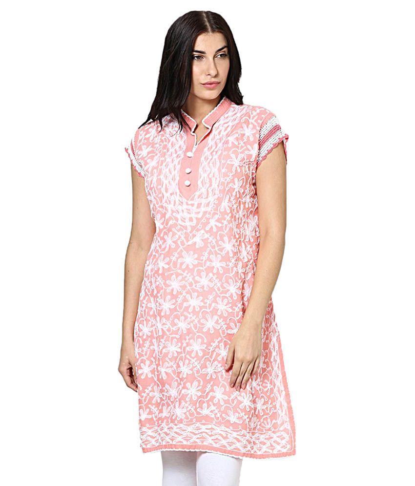 R D Traders Pink Cotton Straight Kurti