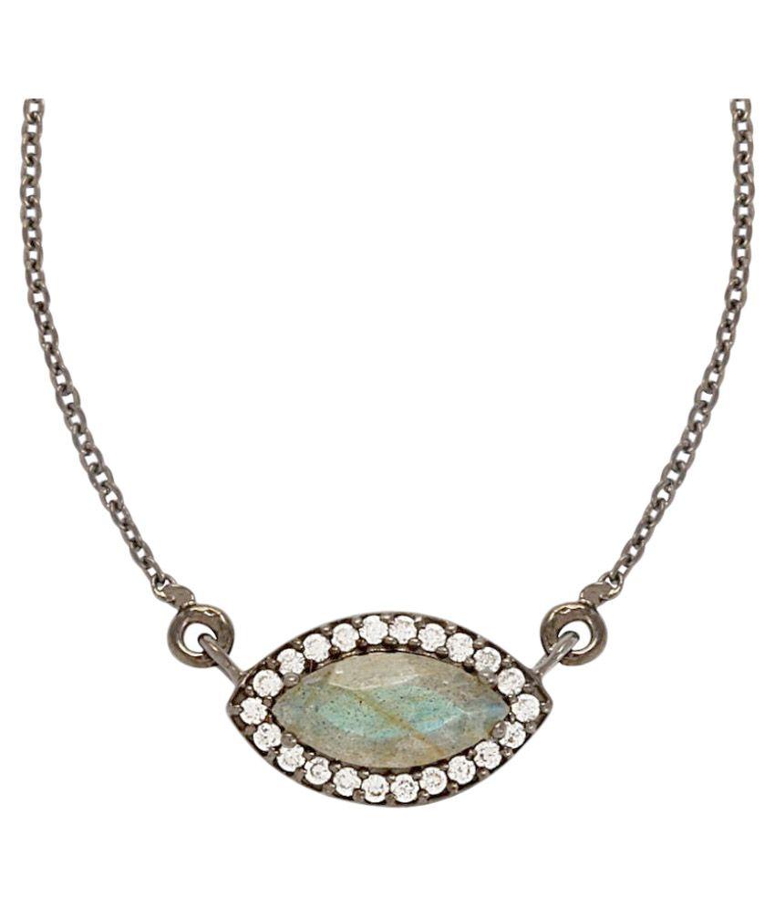 Shine Jewel 92.5 Silver Labradorite Pendant Necklace